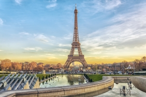 France - Eiffel Tower at sunset in Paris