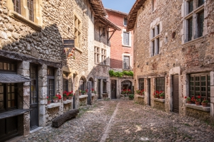 France - historic stone houses in Perouge