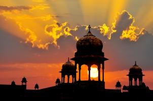 India - Mogul design palace domes sunset Rajasthan