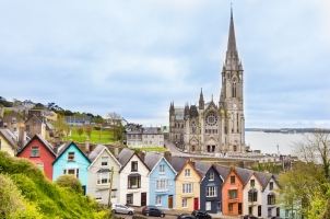 Ireland - Cathedral and colored houses in Cobh