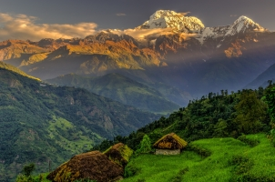 Nepal - annapurna south in the morning himalayas
