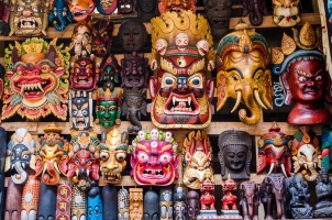 Nepal - colorful woodenmasks