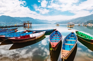 Nepal - colorful boats