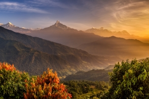 Nepal - Sunrise over annapurna in the himalayas