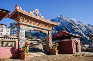 Nepal - front gate of the monastery tengboche
