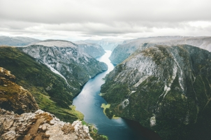 Norway - Landscape fjord and mountain aerial view