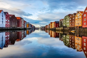 Norway - The harbor and city of trondheim