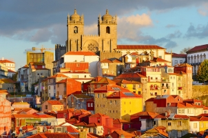 Portugal - the old town of Porto at sunset