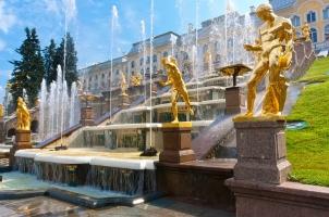 Russia - Fountains in Peterhof in St. Petersburg