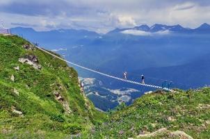 Russia - Rope Bridge in Sochi Mountains