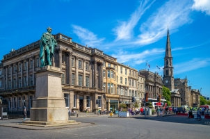 Scotland - street view of george street at Edinburgh