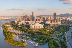 Südkorea - panorama aerial view of seoul city skyline