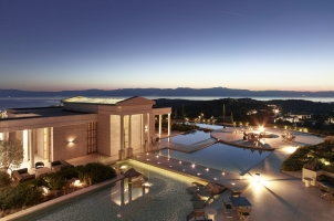Amanzoe - Central Terrace at Sunset