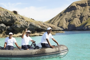 Indonesia Amandira - Crew in Dinghy
