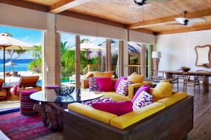 Maledives Six Senses Laamu - Two bedroom Ocean Beach Villa Living Room