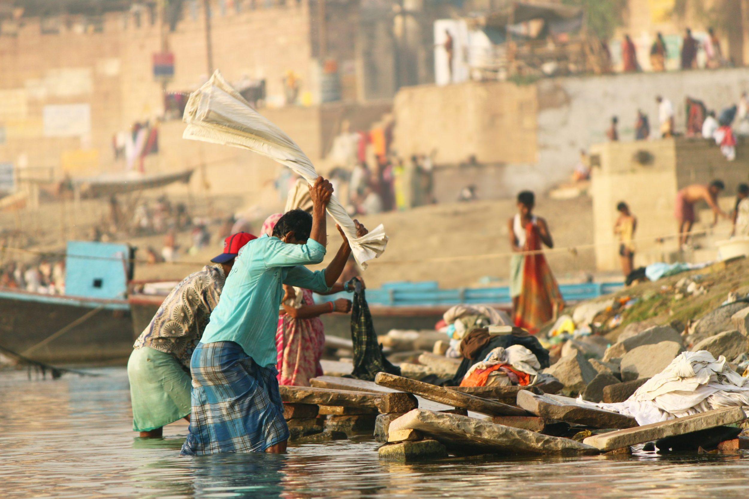 India  - Dhobi ghat at Varanasi