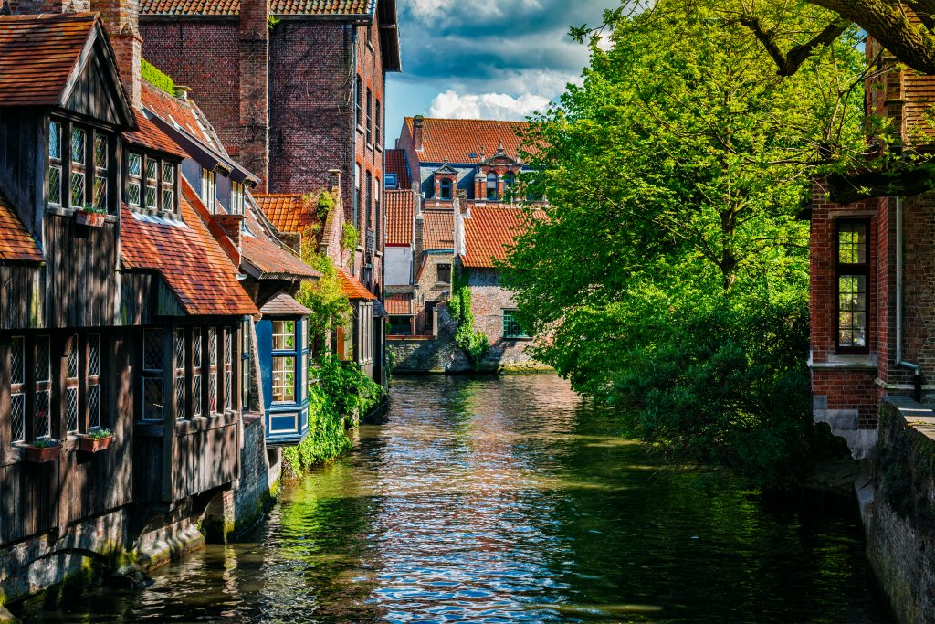 Canal and medieval houses in bruges